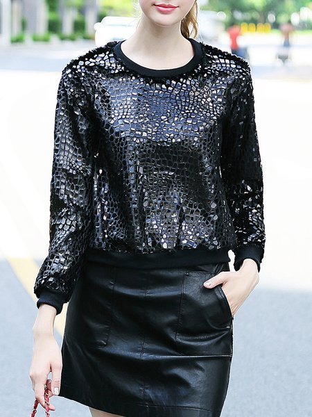 Black Crew Neck Casual Sequin Sweatshirt