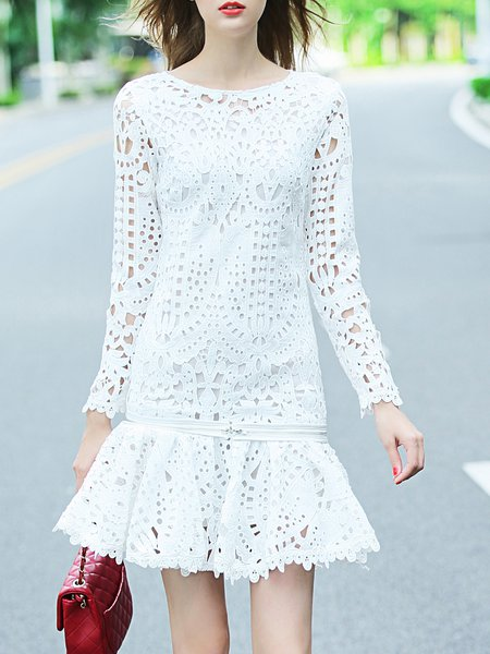 Girly Floral Zipper Long Sleeve Mini Dress
