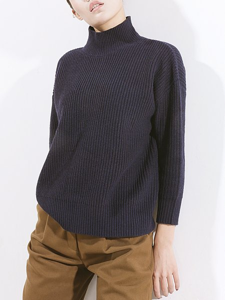 Navy Blue Wool Simple Plain Knitted Sweater