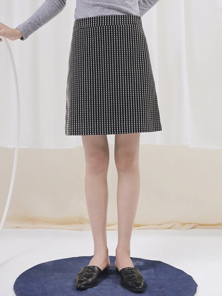 Black Polyester Simple Printed Mini Skirt