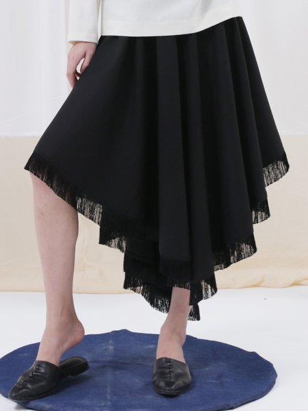 Black Simple Asymmetric Plain Midi Skirt
