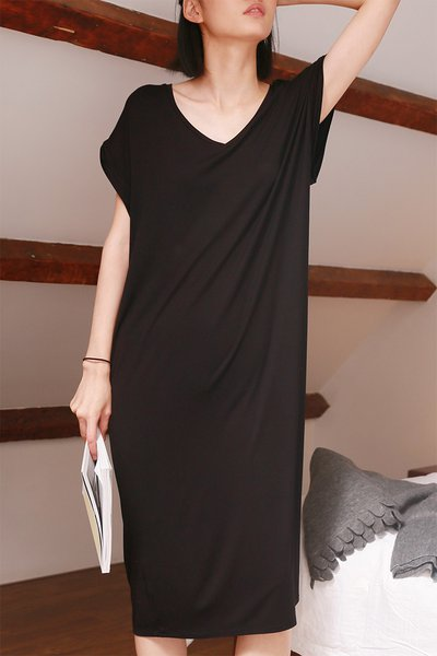 Plain Modal Shift Short Sleeve Simple Home Midi Dress