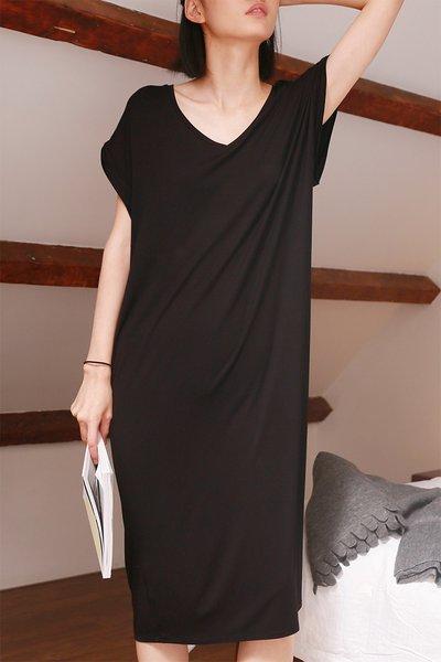 Plus Size Plain Modal Shift Short Sleeve Simple Home Midi Dress