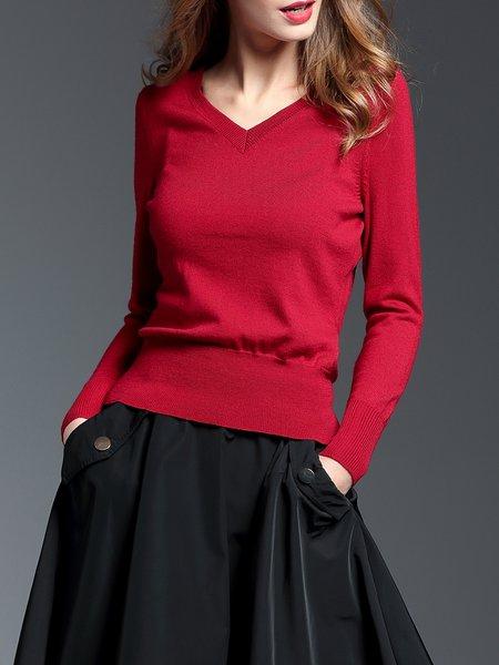 Burgundy Wool Long Sleeve Sweater