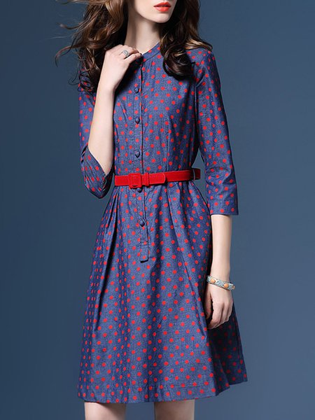 Blue Polka Dots Denim Elegant Midi Dress With Belt