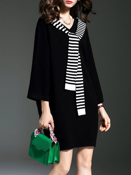 Black Cocoon Knitted Batwing Sweater Dress