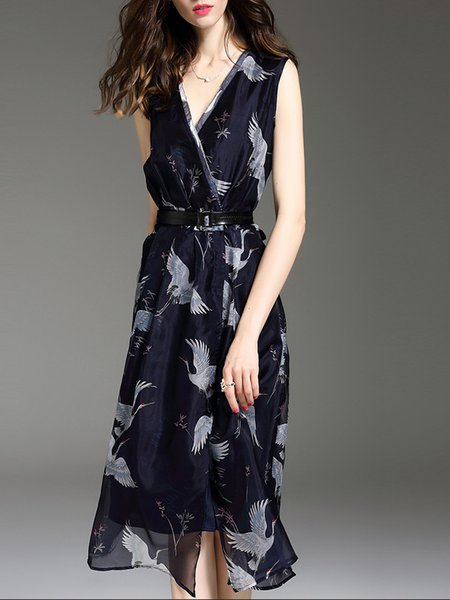 Navy Blue A-line Printed Sleeveless Midi Dress With Belt