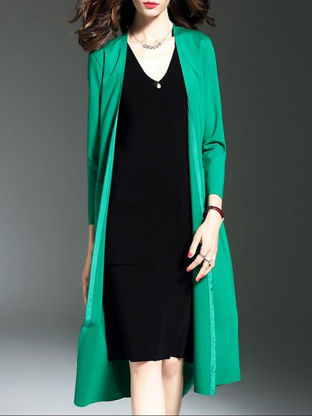 Cotton-blend Elegant 3/4 Sleeve Plain Coat