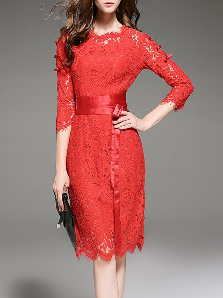 Red A-line Bow 3/4 Sleeve Midi Dress
