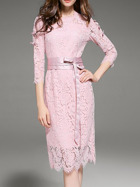 Pink Lace Bow Elegant A-line Midi Dress With Belt