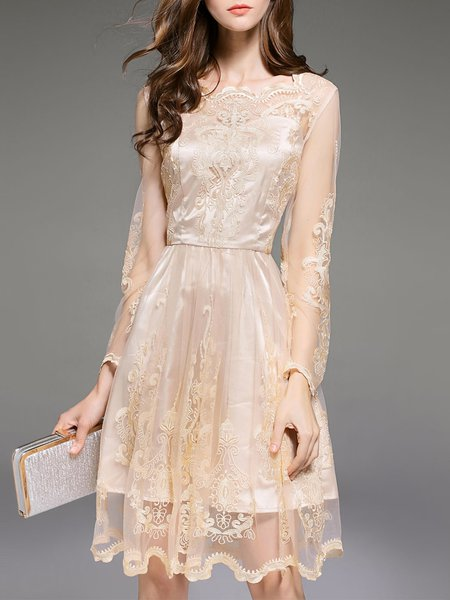 Beige Embroidered Elegant Midi Dress
