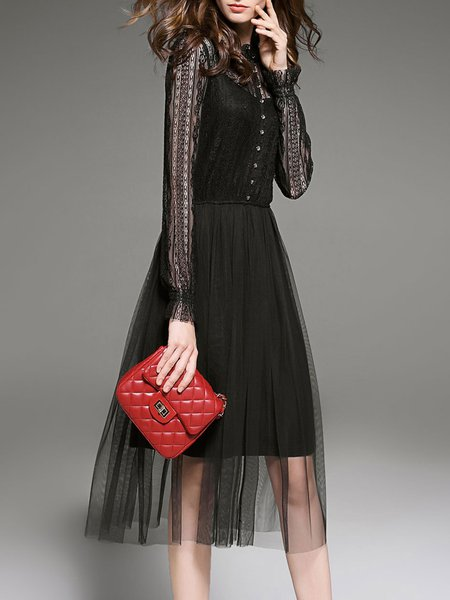 Black Mesh Plain Elegant Pierced Midi Dress