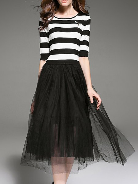 Black Casual A-line Mesh Stripes Midi Dress With Brooch