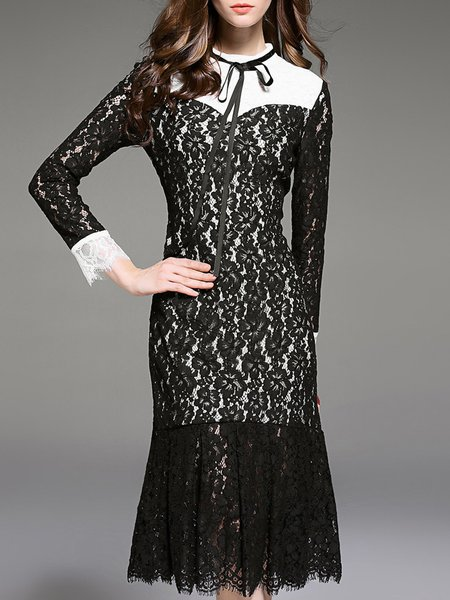 Black Stand Collar Elegant Lace Mermaid Midi Dress