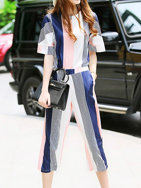 Multicolor Stripes Casual Polyester Jumpsuit