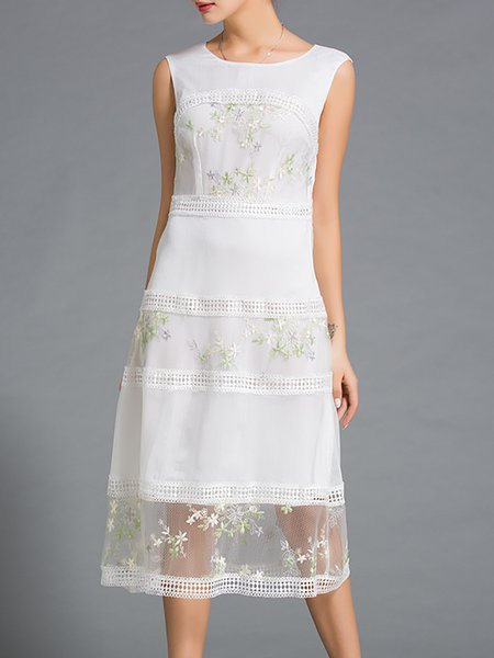 White Floral Sleeveless A-line Midi Dress