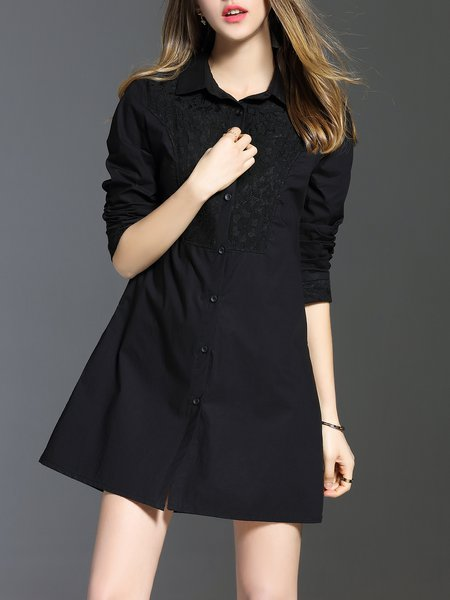 Buttoned A-line Casual Long Sleeve Paneled Shirt Dress