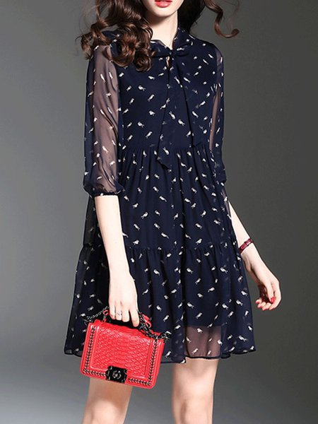 Navy Blue 3/4 Sleeve Printed A-line Midi Dress
