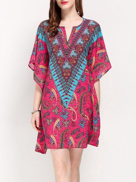Fuchsia Asymmetrical Jacquard Printed Boho Holiday Dress