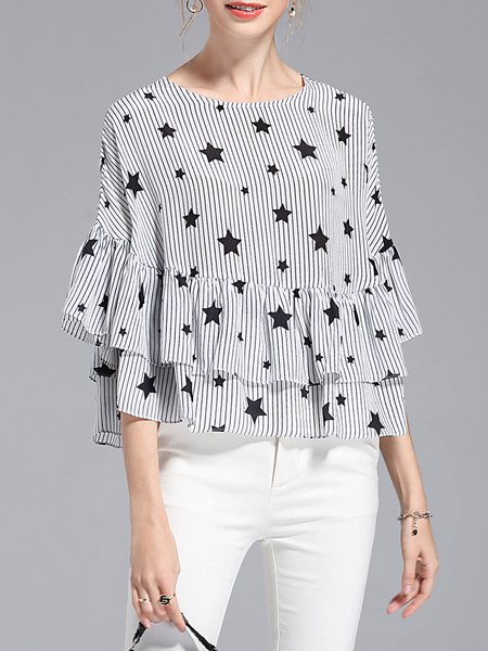 Star Batwing Stripes Cotton-blend Ruffled Tops