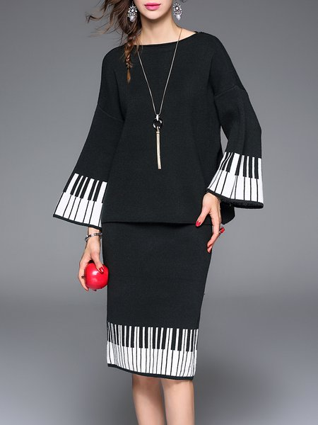 Simple Two Piece Frill Sleeve Knitted Midi Dress