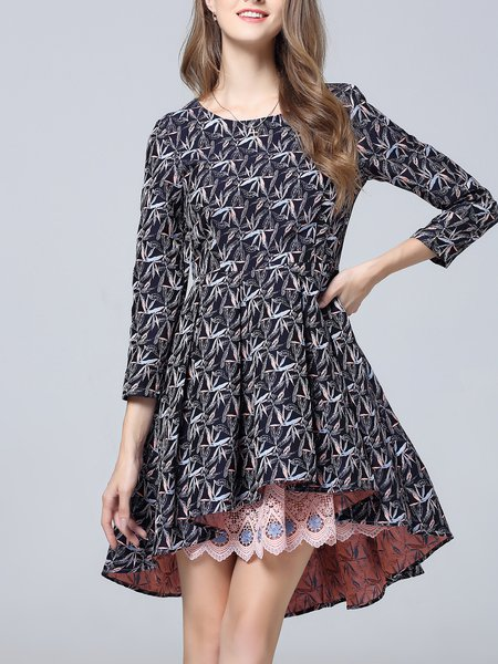 Navy Blue High Low Floral 3/4 Sleeve Midi Dress
