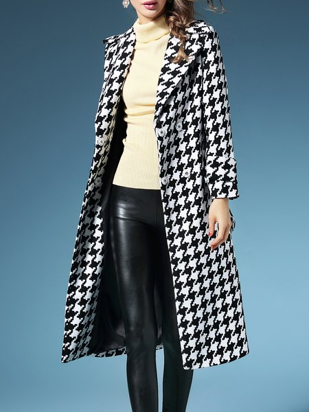 Lapel Houndstooth Elegant Wool Blend Long Sleeve Coat With Belt