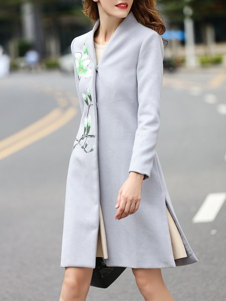 Stand Collar Elegant Floral Painted Cotton-blend Long Sleeve Coat