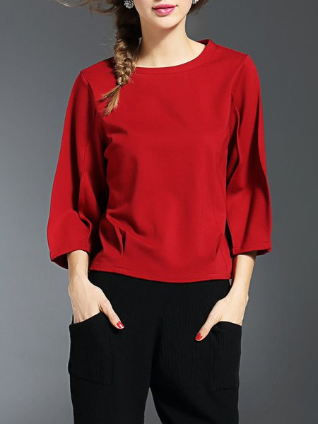 Solid Cotton-blend Folds Simple 3/4 Sleeve Top
