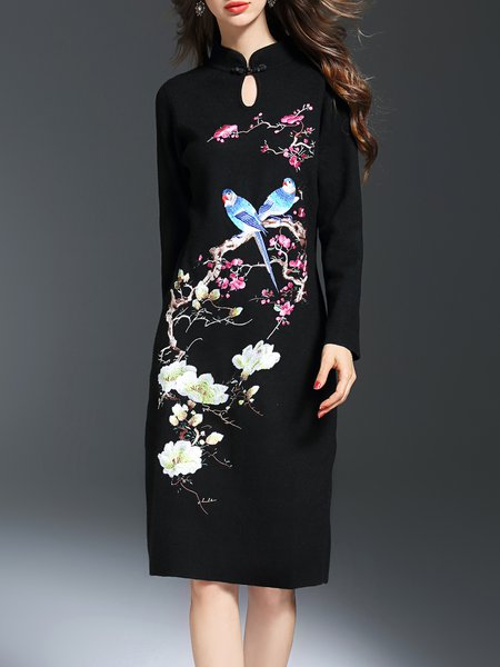 Black Embroidered Long Sleeve Keyhole Midi Dress