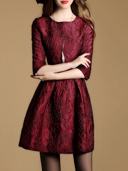 Wine Red A-line Crew Neck Vintage Jacquard Mini Dress
