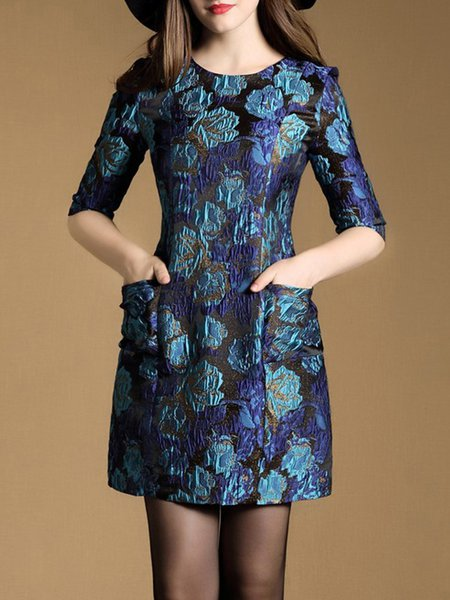 Blue Half Sleeve Jacquard Pockets Mini Dress