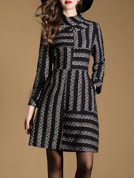 Black Long Sleeve Stripes Stand Collar Midi Dress