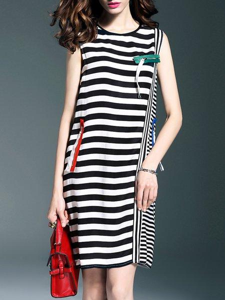 Black Sleeveless Shift Midi Dress
