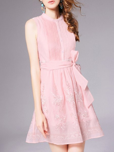 Pink Sleeveless Polyester Embroidered Mini Dress
