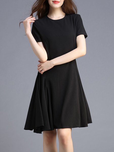 Short Sleeve Crew Neck Simple Midi Dress