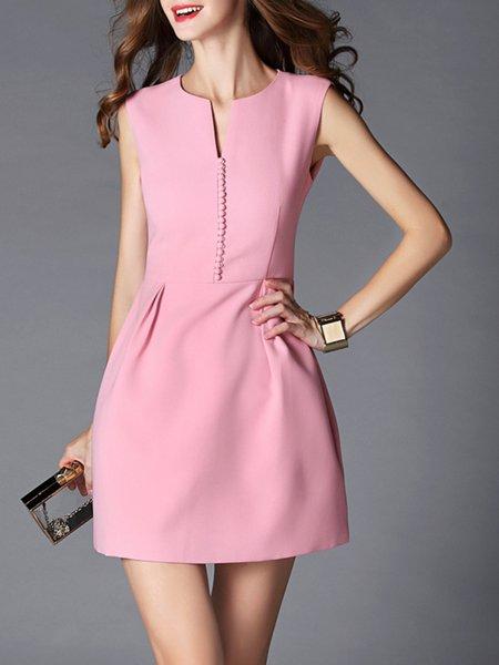 Pink Plain Sleeveless Mini Dress