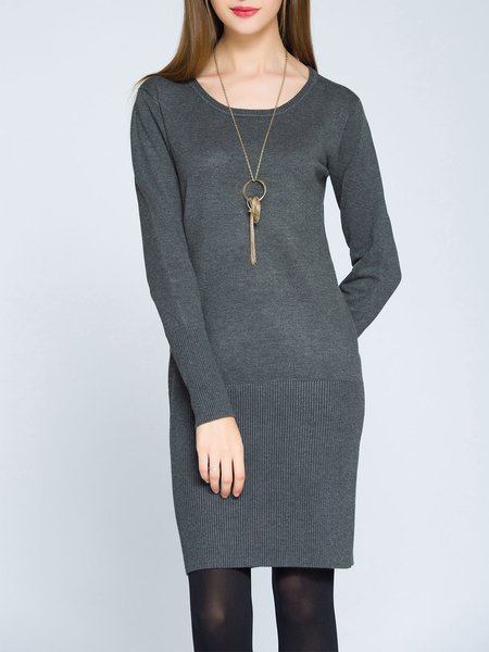 Elegant Long Sleeve Crew Neck Solid Sweater