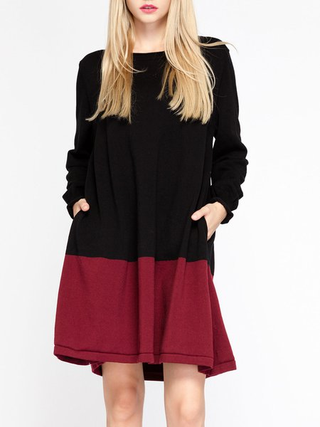 Black-red Elegant Crew Neck Sweater Dress