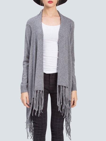 Fringed Solid Elegant Long Sleeve Cardigan