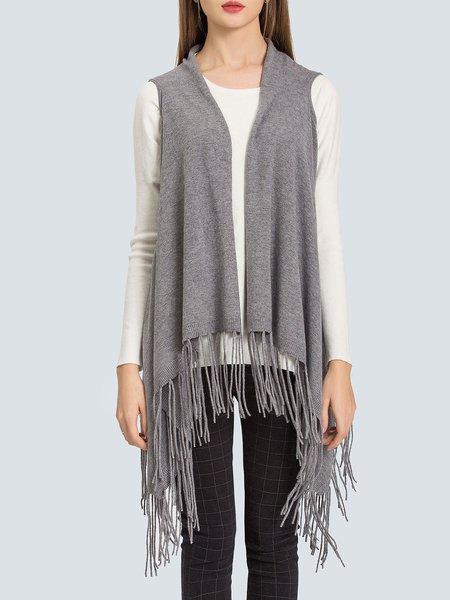 Gray Elegant Fringed Sweater