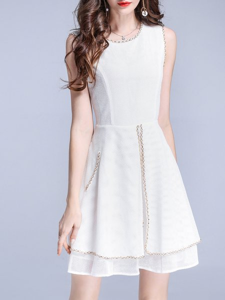White Solid Crew Neck Sleeveless Beaded Mini Dress