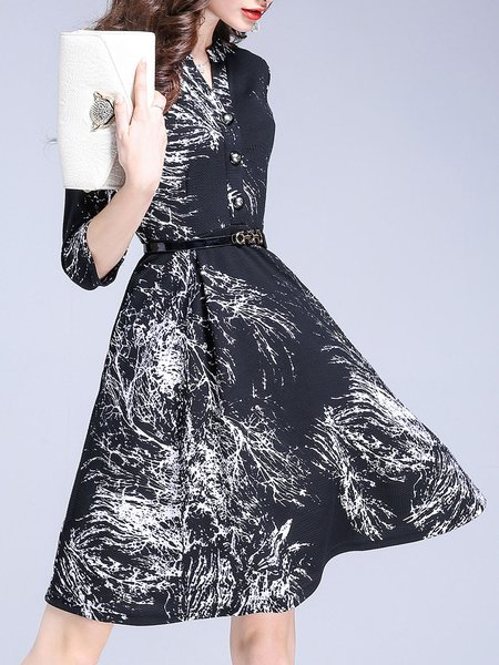 Half Sleeve Abstract Printed Elegant Shirt Collar Midi Dress