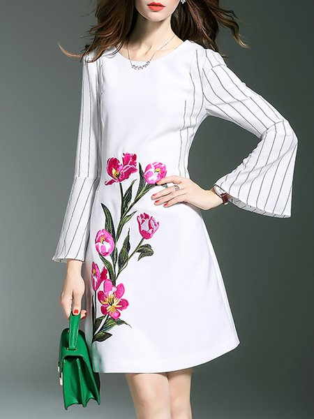White Floral-embroidered Stripes Bell Sleeve Shift Midi Dress