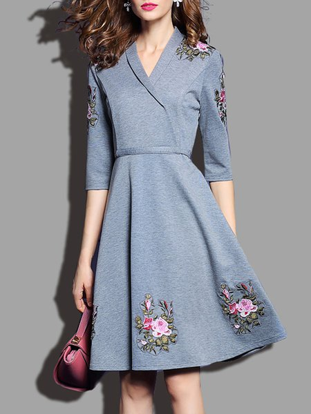Gray Embroidered Floral Half Sleeve A-Line Mini Dress