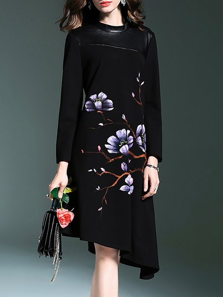 Black Long Sleeve Cotton-blend Floral Crew Neck Midi Dress