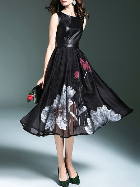 Black Swing Sleeveless Floral Print Midi Dress