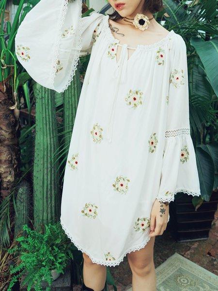 White Bateau/boat Boho Asymmetrical Midi Dress