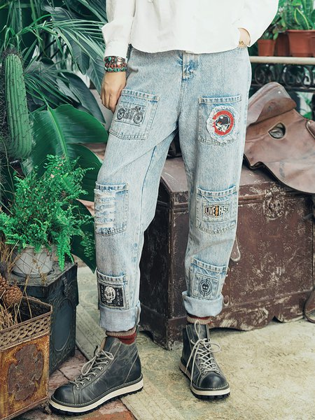 Light Blue Boho Cotton Ripped Tribal Pockets Jeans
