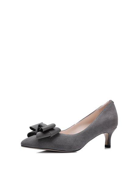 Gray Bowknot Kitten Heel Suede Spring/Fall Heels